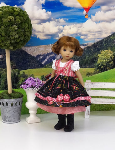 Bavarian Autumn - dirndl ensemble with tights & boots for Little Darling Doll or 33cm BJD