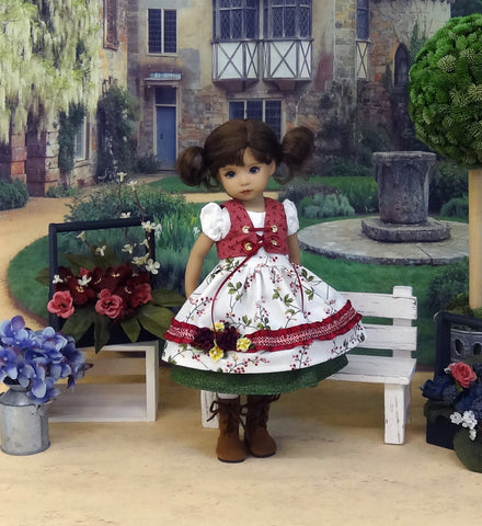 Bavarian Berries - dirndl ensemble with tights & boots for Little Darling Doll or 33cm BJD