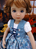 Bavarian Blue Spruce - dirndl ensemble with tights & boots for Little Darling Doll or 33cm BJD