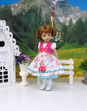 Bavarian Bluebird - dirndl ensemble with tights & boots for Little Darling Doll or 33cm BJD
