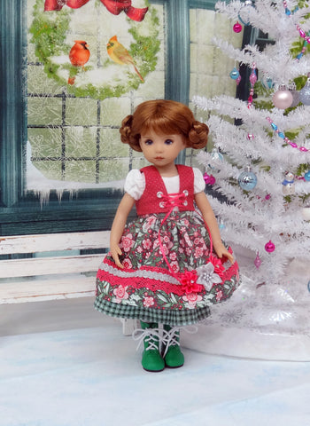 Bavarian Christmas - dirndl ensemble with tights & boots for Little Darling Doll or 33cm BJD