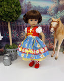 Bavarian Daisy - dirndl ensemble with tights & boots for Little Darling Doll or 33cm BJD