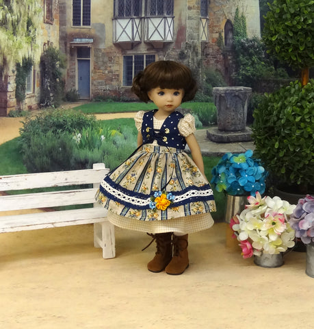 Bavarian Forest - dirndl ensemble with tights & boots for Little Darling Doll or 33cm BJD
