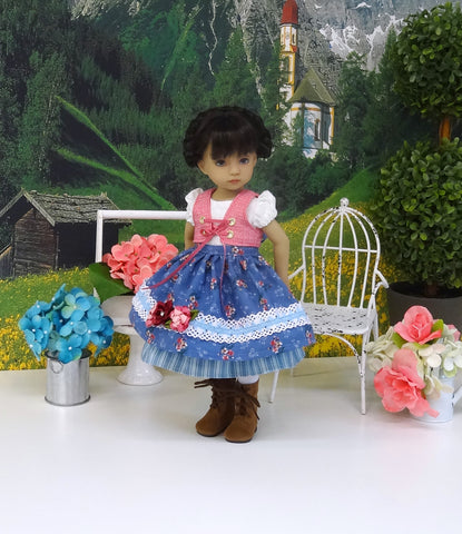 Bavarian Meadow - dirndl ensemble with tights & boots for Little Darling Doll or 33cm BJD