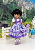 Bavarian Morning Glory - dirndl ensemble with tights & boots for Little Darling Doll or 33cm BJD