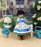 Bavarian Rose Garden - dirndl ensemble with tights & boots for Little Darling Doll or 33cm BJD