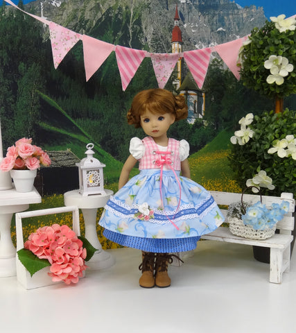 Bavarian Spring - dirndl ensemble with tights & boots for Little Darling Doll or 33cm BJD