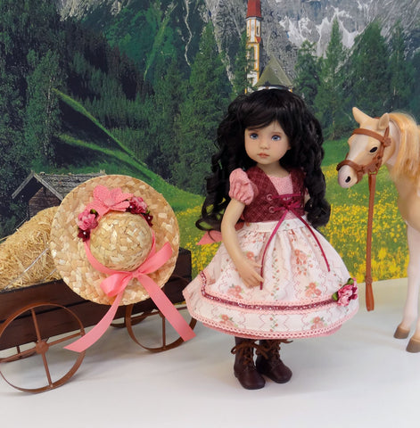 Bavarian Summer - dirndl ensemble with hat, tights & boots for Little Darling Doll or 33cm BJD