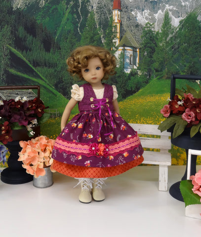 Bavarian Sunset - dirndl ensemble with tights & boots for Little Darling Doll or 33cm BJD