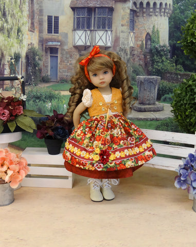 Bayreuth Pansies - dirndl ensemble with tights & boots for Little Darling Doll or 33cm BJD