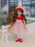Be Mine - dress, hat, tights & shoes for Little Darling Doll or 33cm BJD