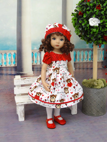 Bear Hugs - dress, hat, tights & shoes for Little Darling Doll
