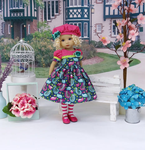 Beautiful Peacock - dress, beret, tights & shoes for Little Darling Doll or other 33cm BJD
