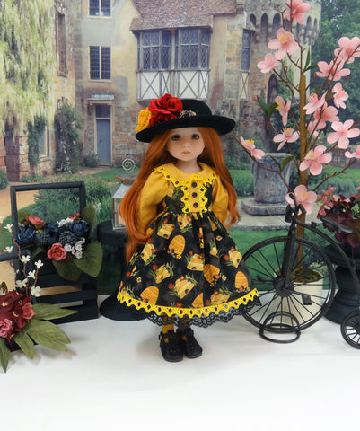 Bee Hive - dress, hat, tights & shoes for Little Darling Doll or 33cm BJD
