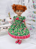 Berries & Bows - dress, tights & shoes for Little Darling Doll or 33cm BJD