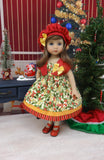 Berry Christmas - jacket, hat, dress, tights & shoes for Little Darling Doll or 33cm BJD