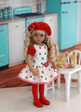 Berry Delicious - dress, beret, tights & shoes for Little Darling Doll