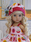 Berry Jam - babydoll top, bloomers, hat & sandals for Little Darling Doll