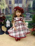 Berry Plaid - dress, hat, tights & shoes for Little Darling Doll or 33cm BJD