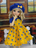 Betty Blue - dress, beret, socks & shoes for Little Darling Doll