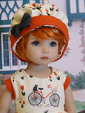 Bicycle Ride - dress, hat, tights & shoes for Little Darling Doll