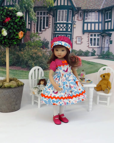 Bird in Hand - dress, hat, tights & shoes for Little Darling Doll or 33cm BJD