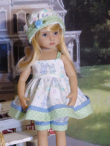 Bitty Bunny - babydoll top, bloomers, hat & sandals for Little Darling Doll