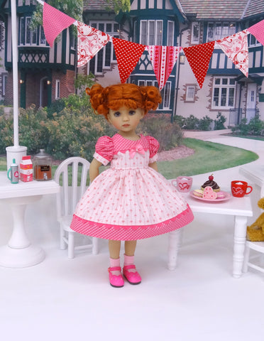 Bitty Hearts - dress, socks & shoes for Little Darling Doll or 33cm BJD