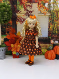 Bitty Pumpkin - dress, tights & shoes for Little Darling Doll or 33cm BJD