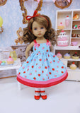 Bitty Strawberries - dress, socks & shoes for Little Darling Doll or 33cm BJD