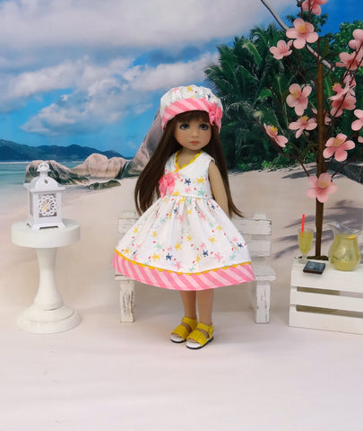 Bitty Turtles - dress, hat & sandals for Little Darling Doll or 33cm BJD