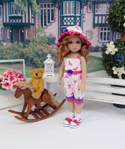 Bitty Unicorn - romper, hat, socks & shoes for Little Darling Doll or 33cm BJD