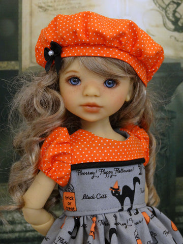Black Cats - dress, beret, tights & shoes for Little Darling Doll or 33cm BJD
