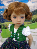 Black Forest Floral - dirndl ensemble with tights & boots for Little Darling Doll or 33cm BJD