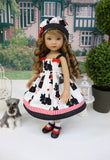 Black Terrier - dress, hat, socks & shoes for Little Darling Doll or 33cm BJD