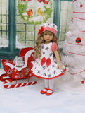 Blooming Holly - dress, hat, tights & shoes for Little Darling Doll or 33cm BJD