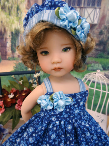 Blue Bayou - dress, hat, tights & shoes for Little Darling Doll or 33cm BJD