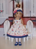 Bluebird Meadow - dress, hat, tights & shoes for Little Darling Doll