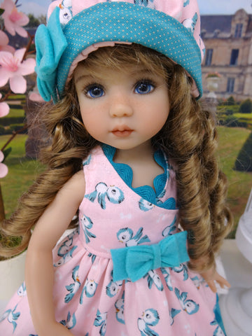 Blue Birdie - dress, hat, socks & shoes for Little Darling Doll or 33cm BJD