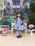 Blue Bouquet - dress, beret, tights & shoes for Little Darling Doll or other 33cm BJD