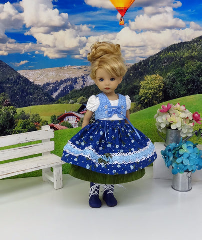 Blue Danube - dirndl ensemble with tights & boots for Little Darling Doll or 33cm BJD