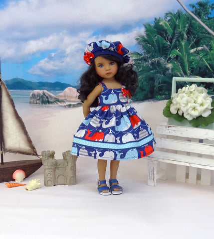 Blue Whale - dress, beret & sandals for Little Darling Doll or 33cm BJD