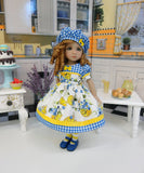 Blueberry Lemonade - dress, beret, tights & shoes for Little Darling Doll or 33cm BJD