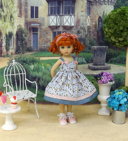 Bohemian Feathers - dress, socks & shoes for Little Darling Doll or 33cm BJD