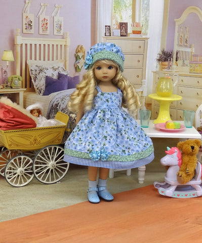 Bonny Blue - dress, hat, socks & shoes for Little Darling Doll or 33cm BJD
