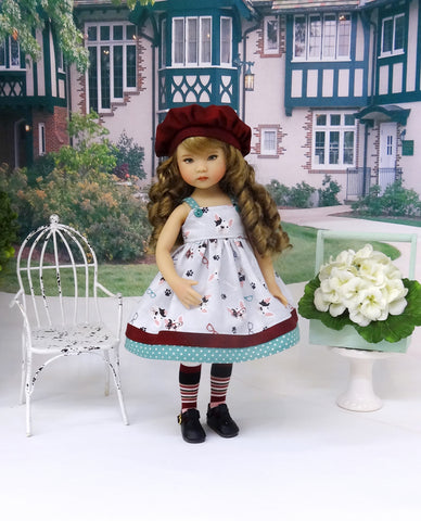 Boston Terrier - dress, hat, tights & shoes for Little Darling Doll or 33cm BJD