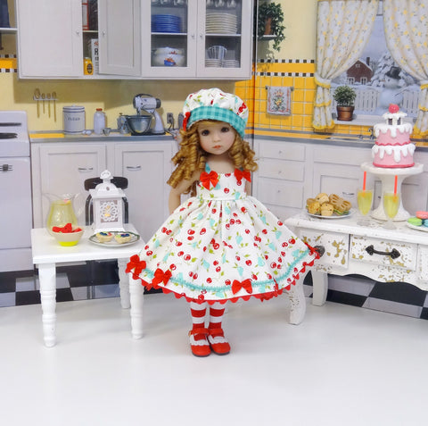 Bowl of Cherries - dress, hat, tights & shoes for Little Darling Doll or other 33cm BJD