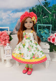 Bright Bouquet - dress, hat, tights & shoes for Little Darling Doll or 33cm BJD