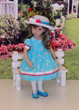 Bright Rosebud - dress, hat, tights & shoes for Little Darling Doll