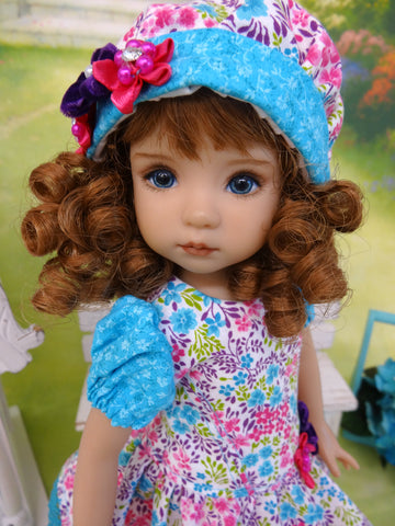 Bright Spring - dress, hat, tights & shoes for Little Darling Doll or other 33cm doll